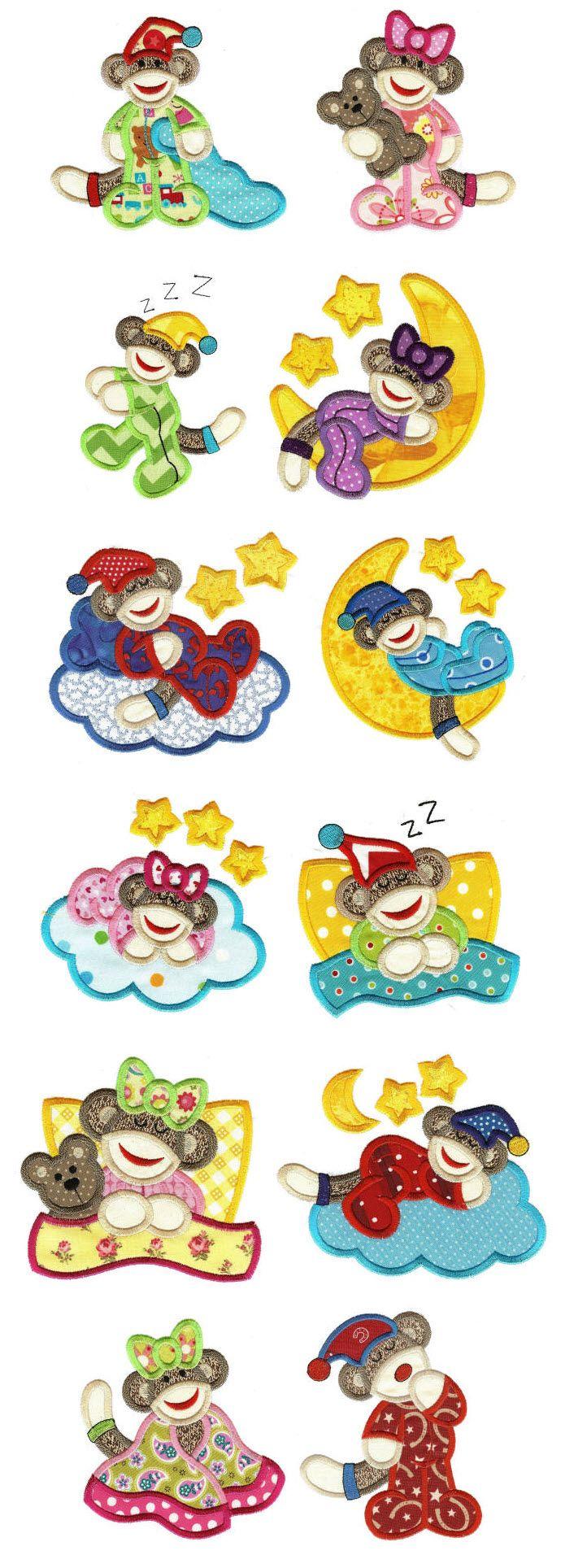 Embroidery   Applique Machine Embroidery Designs   Sleepy Slumber Sock Monkeys Applique