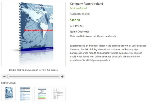 Company Check Ireland - Europe - How can I check Irish company? How to check the legitimacy of your Chinese buyers or partners? Are they a real company? Are there financial information and rating data available? How can I get official data about the company?    However, the risk of doing international business can be very high. Commercial credit reports and company ratings can save you time and effort when faced with critical business decisions.