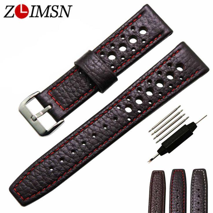 ZLIMSN Echtes Leder Uhrenarmband 20 22mm Armband Schwarz Braun Band Männer Frauen Uhren Zubehör Silber Schnalle Uhren Hombre
