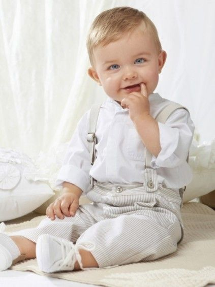 Shop online in India the smart and trendy formal clothes for your young infant. The white shirt with grey and white stripes trousers and suspenders is a unique formal dress for baby boys for parties and weddings.
