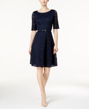 Charter Club Petite Belted Lace Dress, Created for Macy's - Blue P/XL