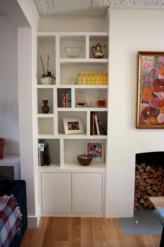 Image result for chimney breast bookcase open on one side