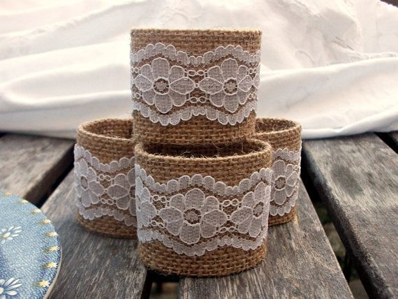 Burlap Napkin Rings with White Vintage Lace. Etsy