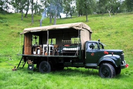 """""""The Beer Moth"""",  Scotland. Walter from the Inshriach House salvaged a 1956 Conmer Q4 fire truck, made it roadworthy again, and then transformed it into one of the world's most unique hotel rooms. It features a Victorian double bed, salvaged oak parquet flooring taken from a Tudor mansion, and its own fireplace."""