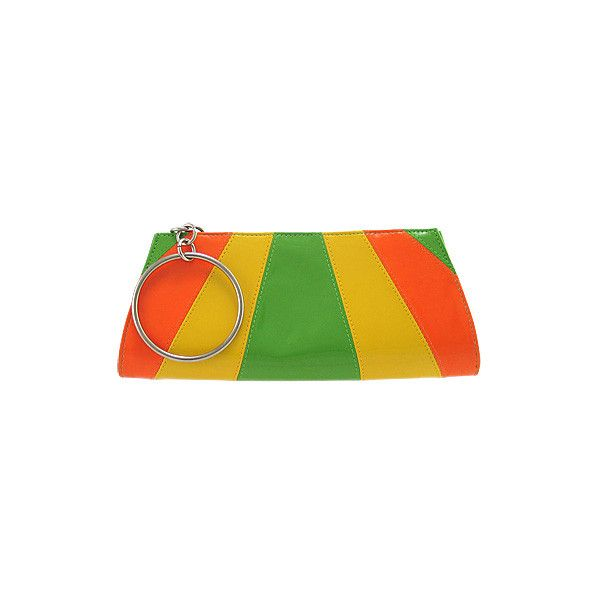 Underground Station: Piano Bag - Yellow/Orange/Green ❤ liked on Polyvore featuring bags, handbags, purses, handbag purse, orange handbags, green handbags, green purse and orange bag