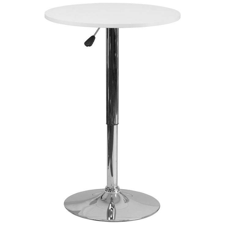 Round adjustable height highboy table with white wood top