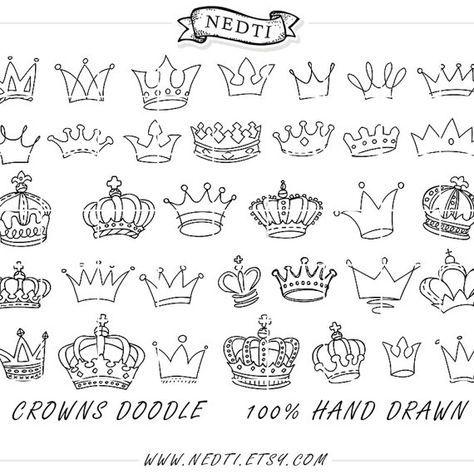Kronen Doodle gezeichnet Vektor Prince Crown digitales von Nedti