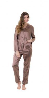 Pijama Mujer LOHE. Pijama Mujer. Pijama Gris, Pijama manga larga. Pijama señora. Pijama para invierno. Pijama de Raso.