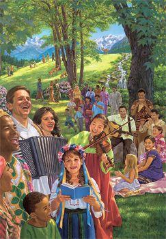 Pessoas de várias formações étnicas usufruindo o paraíso juntos