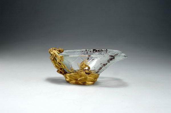 François-Eugène Rousseau (French 1827-1891), Appert Frères, Bowl, Bronze Mounted Engraved Glass.