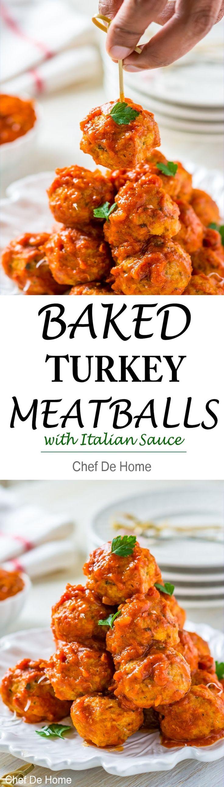 Baked not fried turkey meatballs coated in Italian marinara sauce | chefdehome.com