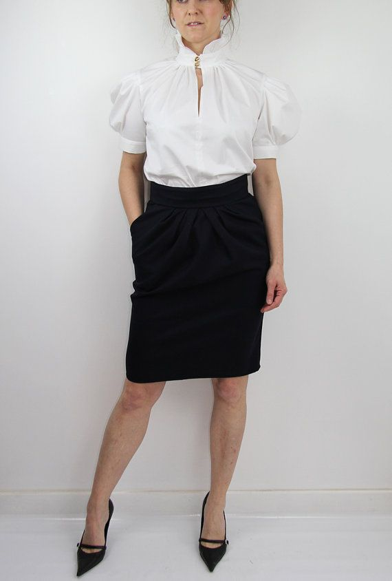 Women knee length skirt blue marine skirt navy by JolyDagmara
