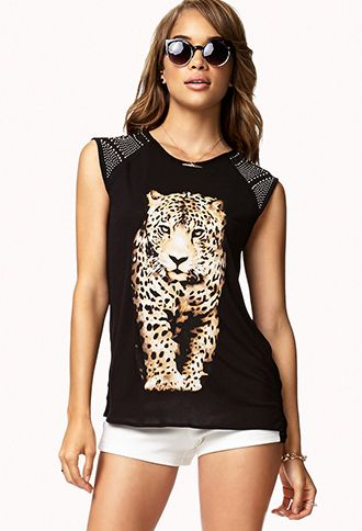 Leopard Graphic Studded Top | FOREVER21 - 2047667634