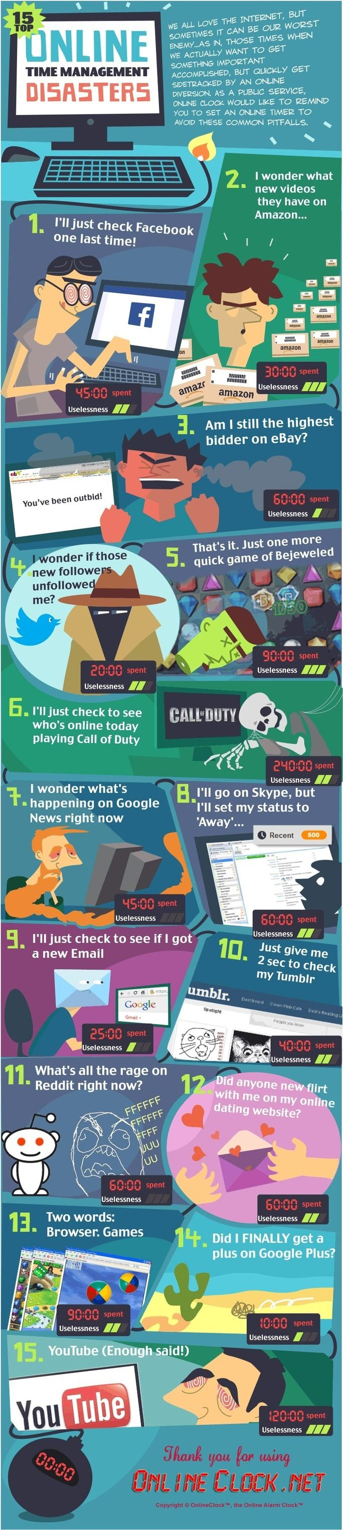 15 Top Online Time Management Disasters [Infographic] | By: OnlineClock.net, via ScoopIt