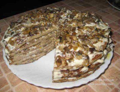 Печінковий торт з грибною начинкою
