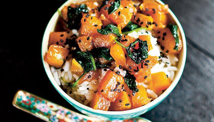 Pumpa med spenat och ris. vego pumpkin spinach