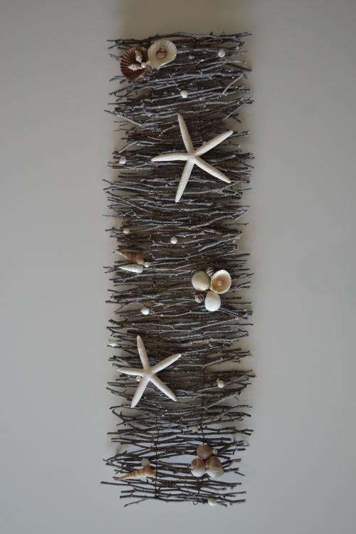 Creëer je eigen sfeer in de tuin, badkamer of op tafel met deze schelpen decoratie. afm. 1 mtr x 34 cm. www.deschelpenshop.nl