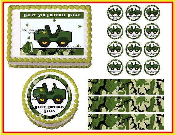 ARMY TRUCK JEEP Camo Decoration Edible Birthday Cake Decoration Strip ...