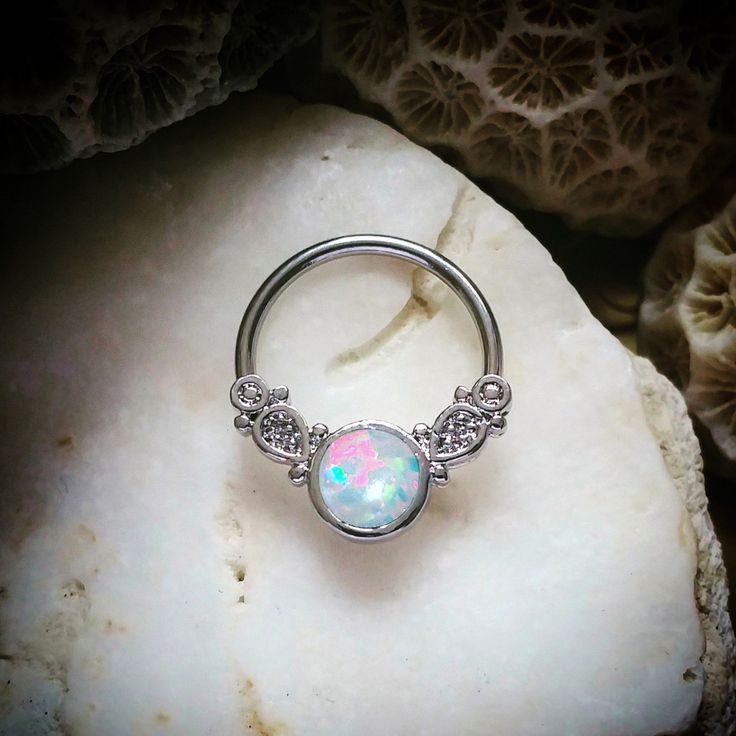 16G | 14G Fire Opal Silver Septum Ring | Cute Daith Piercing Nose Ring Silver Tribal Hoop Nipple Rings Opal Conch Earring Orbital Jewelry by ThrowBackAnnie on Etsy https://www.etsy.com/ca/listing/271864672/16g-14g-fire-opal-silver-septum-ring