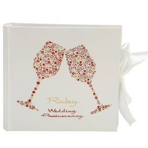 40th Ruby Wedding Anniversary White/Red Roses Wrapping Paper 2 Sheets+1 Gift Tag BGC Studios