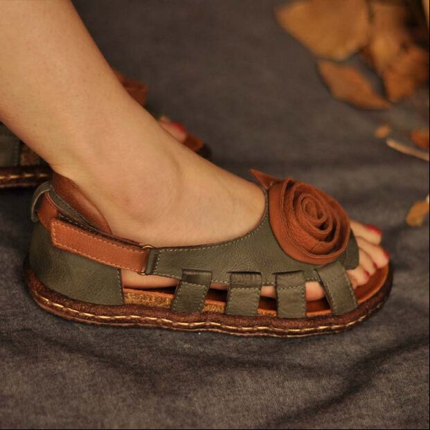 Vintage handmade leather sandals national trend women's shoes flower shoes soft outsole loose comfortable sandals free shipping