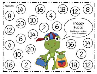 First Grade a la Carte: Froggy Facts Doubles game. Roll the dice then double it and cover your answer.  FREEBIE