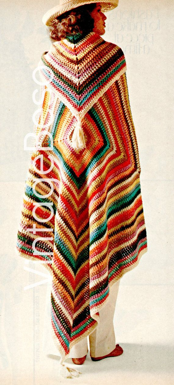 3 patrones patrón de Poncho y ganchillo patrón por VintageBeso