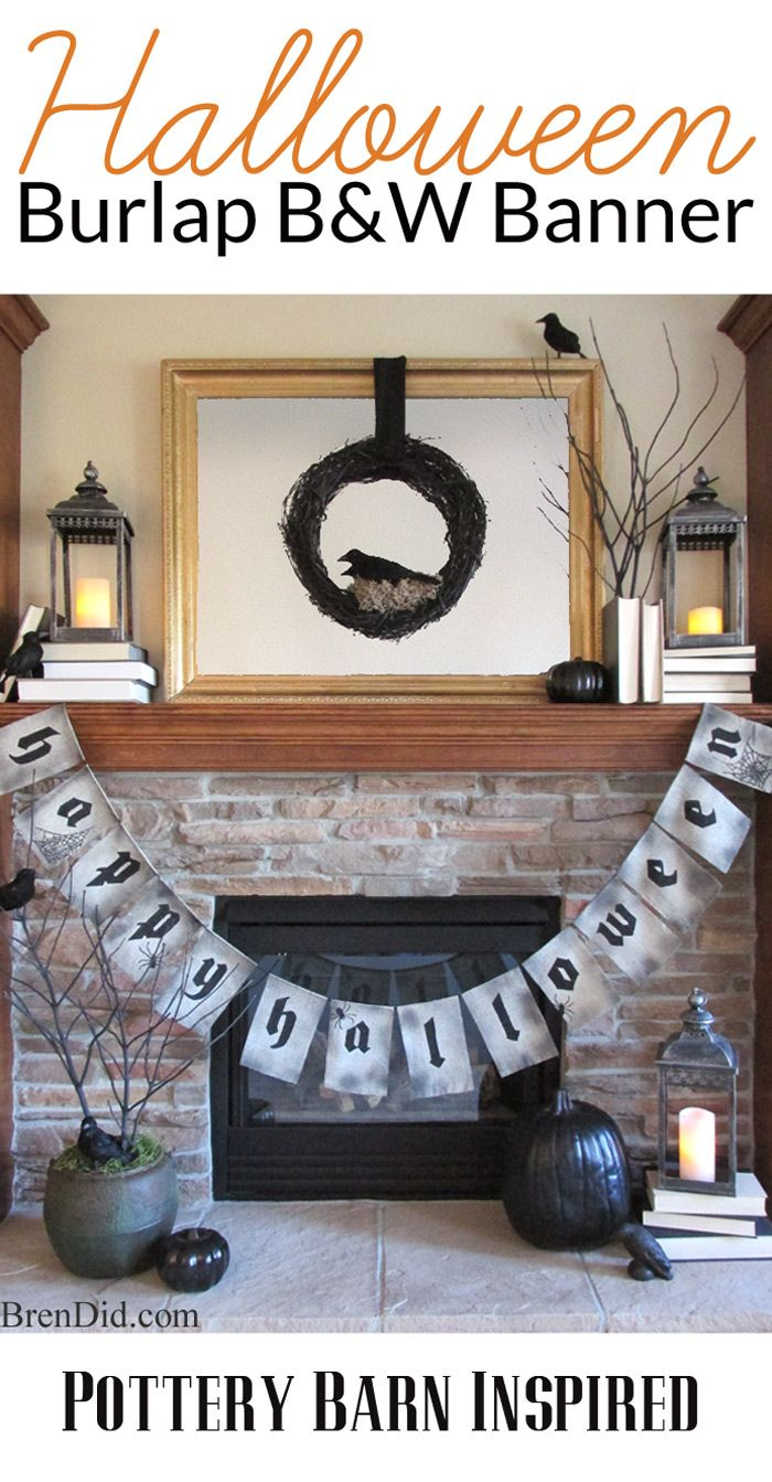 Happy Halloween Burlap Banner in black and white inspired by Pottery Barn – This easy burlap banner with free printable pattern is an easy…