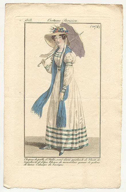 Hmm - high waist or lower...  Journal des Dames et des Modes, 1823.  I'm really loving this outfit- the ribbon trim, the wonderful sleeves, and that parasol!