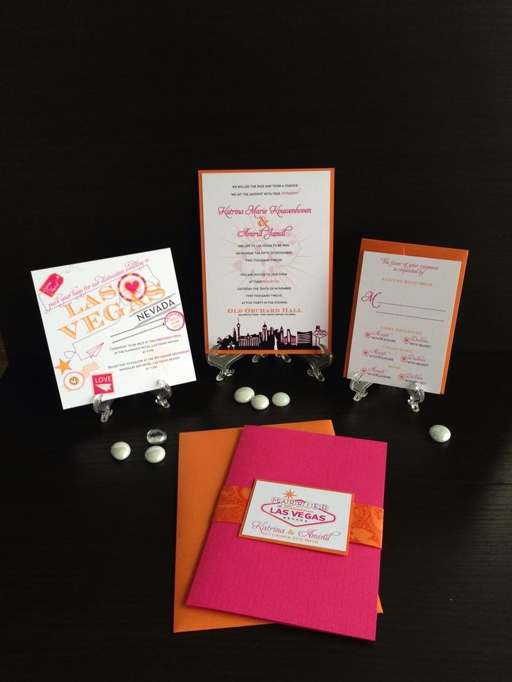 Pink & Orange Vegas Destination Wedding Invitation Suite. http://www.facebook.com/BelleImpressions
