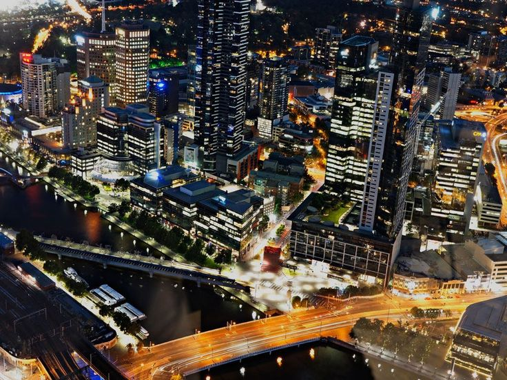 The Yarra River—here seen from the restaurant Vue de Monde—slices through Melbourne.
