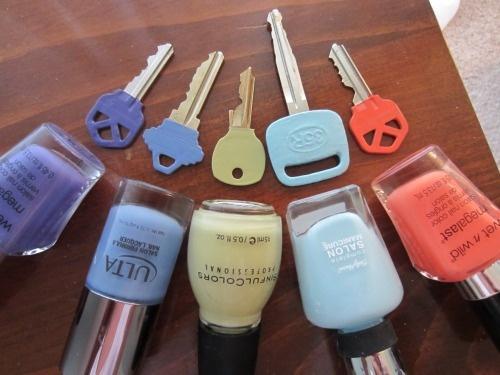 DIY color coded keys with nail polish Great idea for keeping my office keys organized :)