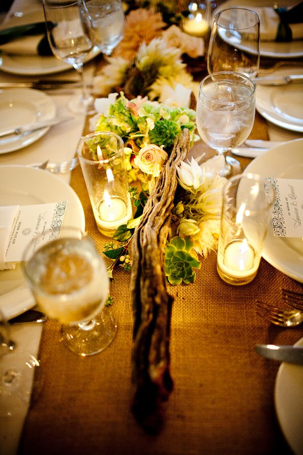 Pretty wedding centerpiece for long table - would love this with colourful flowers