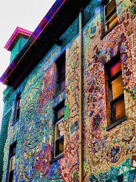 rainbow mosaics. wouldn't this be lovely to look at down town somewhere?