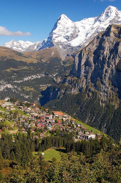 The alpine village of Mürren in Bernese Oberland, Switzerland (by Treveri).