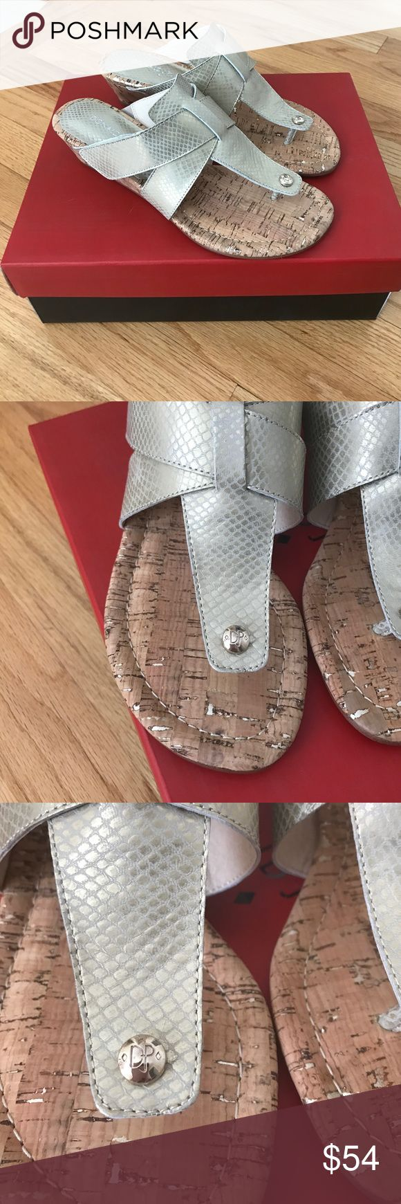New Donald J Pliner metallic wedge sandals Metallic leather slides, a very subtle  metallic  tint, but the color name is Platino.  Gorgeous color.  Minamalist chic thong wedge slides.  padded footbed.  No trades.  Please reach out with any questions. Shoes Sandals