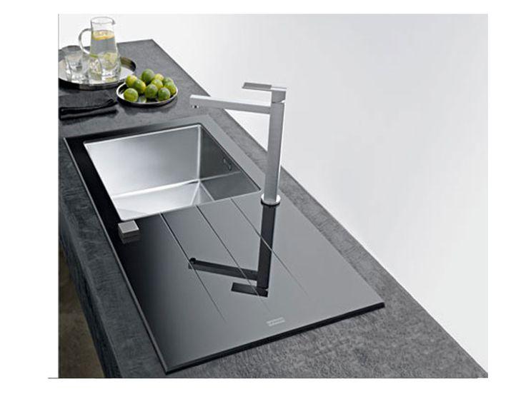 lavello cucina in #vetro temprato e #acciaio #Franke #Cristal #CYV611 www.therapy4home.com