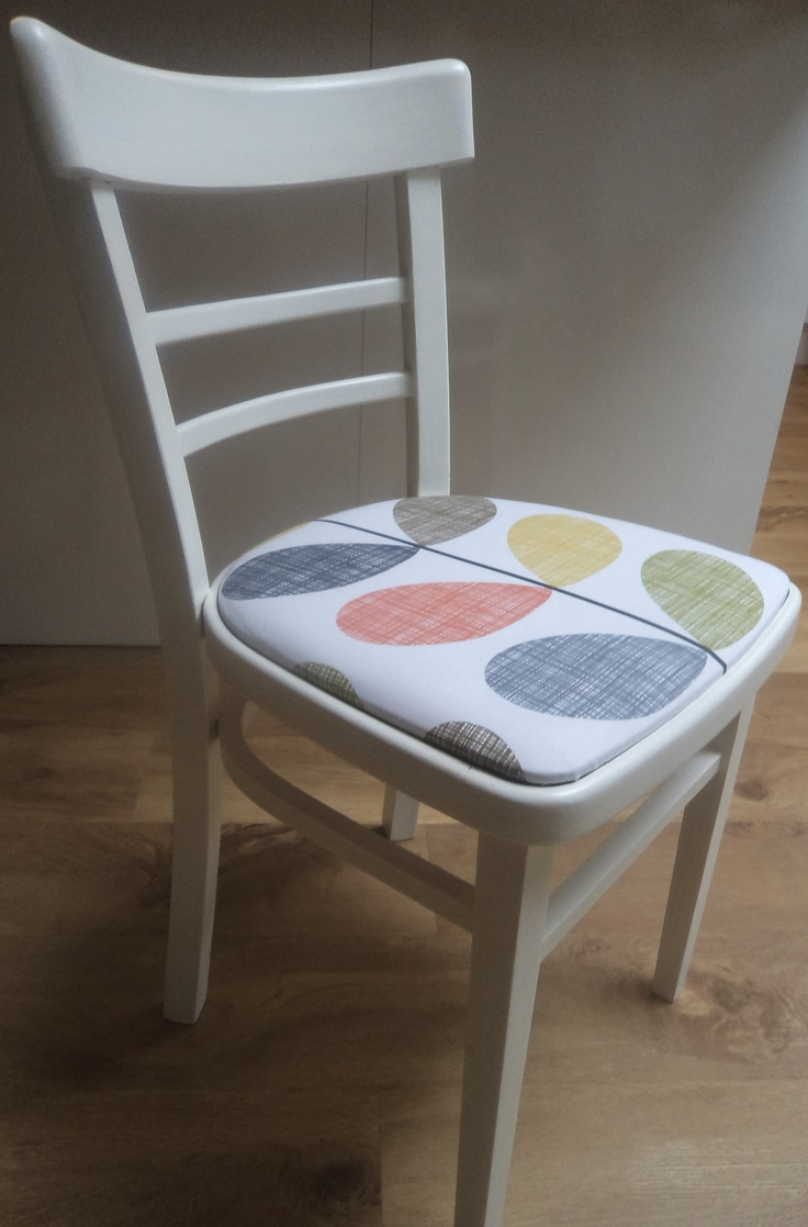 Vintage kitchen chair with Orla Keily stem print seat and painted in Farrow & Ball wimborne white