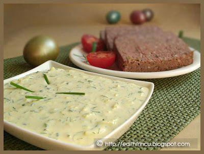 SOS PENTRU DROB- Este un sos tare bun ce poate fi macat cu drob, mezeluri, cartofi prajiti, ca dressing la salate sau ca atare, cu paine. Ne trebuie: 5 oua fierte 1 lg mare
