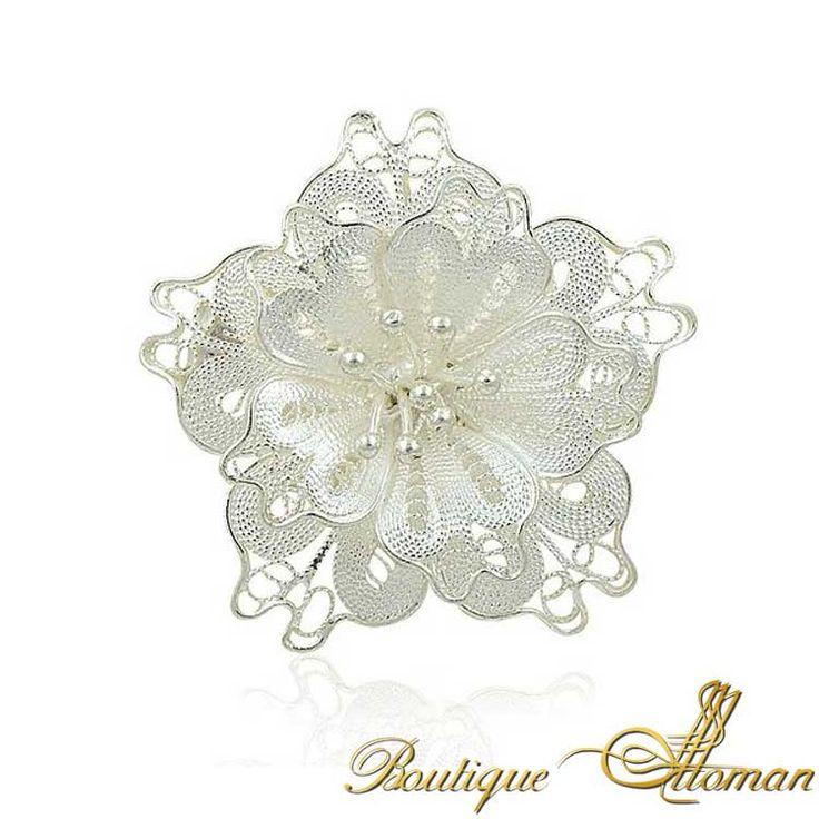 Silver Fligree Rose Brooch - Ottoman Silver Jewelry #brooch #brooches #silverbrooches #jewelry #clothesjewelry