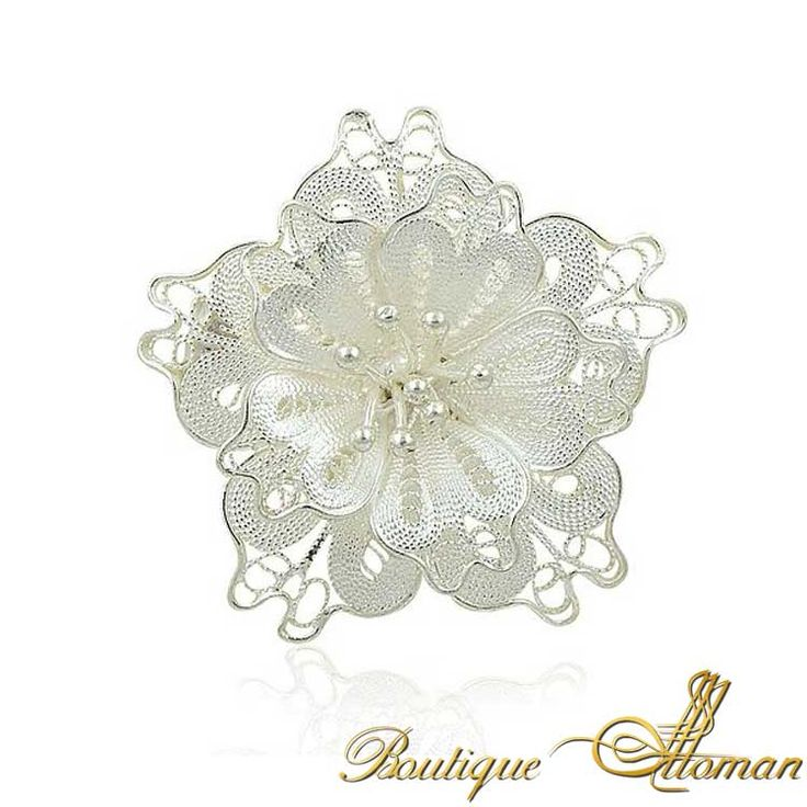 Silver Fligree Rose Brooch - Ottoman Silver Jewelry #brooch #brooches #silverbrooches #jewelry #clothesjewelry