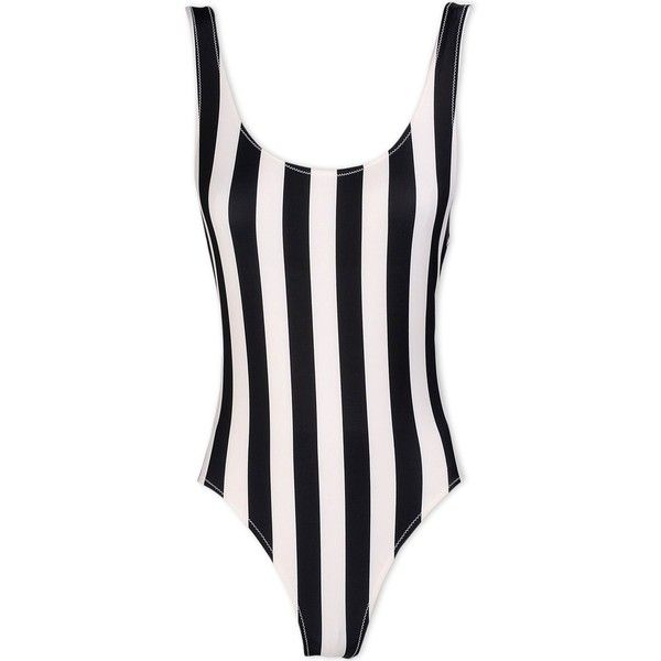 Solid & Striped Swimsuit ($145) ❤ liked on Polyvore featuring swimwear, one-piece swimsuits, black, swim suits, one piece swimsuits, striped swimsuit, striped one piece swimsuit and swim costume