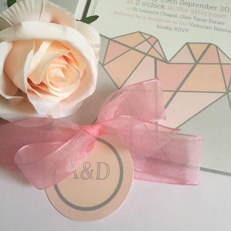 Geometric blush heart pastel print wedding invitation by Paperoo