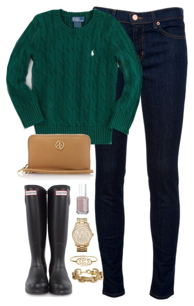 """""""forest green"""" by classically-preppy ❤ liked on Polyvore featuring J Brand, Ralph Lauren, Hunter, Michael Kors, J.Crew, Essie and Tory Burch"""