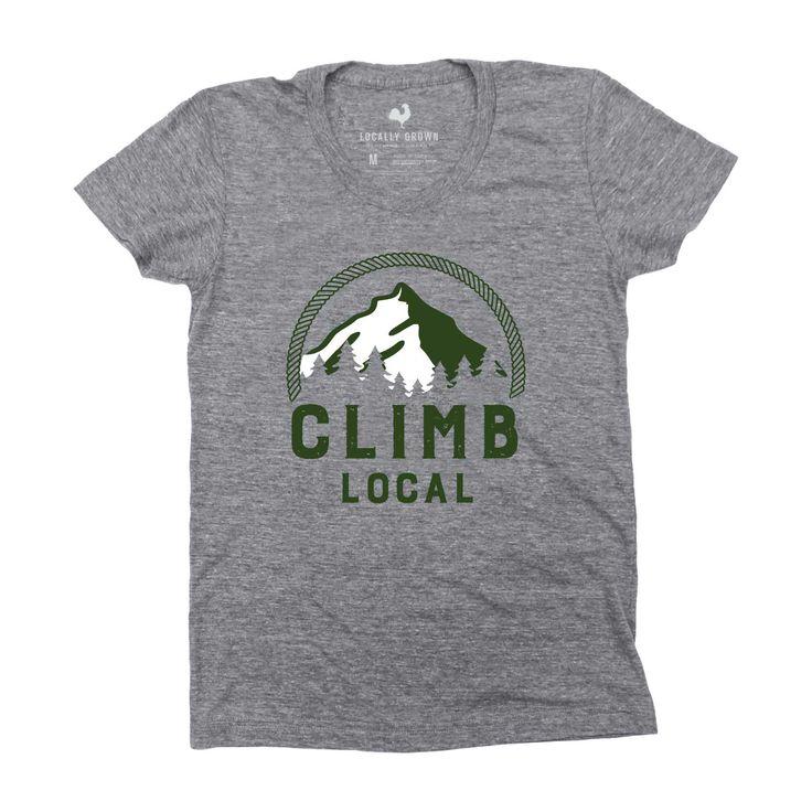 Climb Mountain womens screen printed cotton blend tshirt