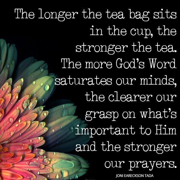 The longer the tea bag sits in the cup, the stronger the tea. The more God's word saturates our minds, the clearer our grasp on what's important to Him and the stronger our prayers. ~ Joni Eareckson Tada   † ♥ ✞ ♥ †