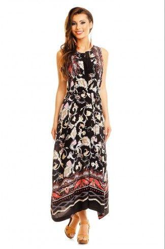 Αμάνικο ασύμμετρο μάξι φόρεμα με print - Μαύρο
