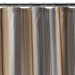 Fieldcrest Luxury Multi Stripe Shower Curtain Brown Gray