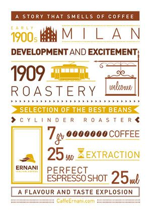 In 1909, the #roastery welcomes its first customers and throughout the streets of #Milan together with its unmistakable roasted flavor, the #Torrefazione starts to spread its authentic passion for #coffee with great attention in choosing its beans and during the roasting process. The result of this dedication is now found in every cup of perfect Ernani coffee #espresso, ready to be served and enjoyed.