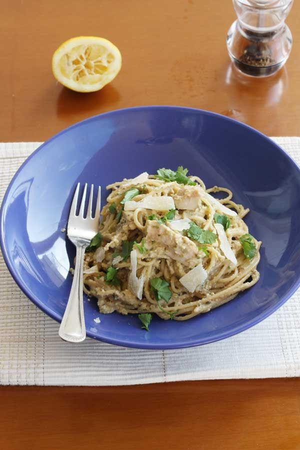 Aubergine, courgette & walnut pesto spaghetti from scrummylane.com